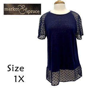 Market & Spruce Navy Linen & Lace Blouse Size 1X